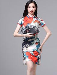 cheap -Belly Dance Dresses Women's Performance Ice Silk Pattern / Print / Ruching Short Sleeve Dress