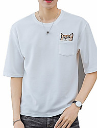 abordables -Mujer Básico Bordado Camiseta Animal Gato