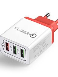 Недорогие -Зарядное устройство для дома / Портативное зарядное устройство Зарядное устройство USB Евро стандарт QC 3.0 3 USB порта 4.8 A 100~240 V для Универсальный