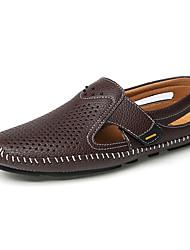 baratos -Homens Sapatos de Condução Pele Verão Mocassins e Slip-Ons Preto / Marron / Azul
