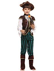 baratos -Pirata Roupa Para Meninos Dia Das Bruxas / Carnaval / Dia da Criança Festival / Celebração Trajes da Noite das Bruxas Café Sólido / Halloween Dia Das Bruxas