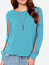 cheap -Women's Business Blouse - Solid Colored Black & White, Tassel
