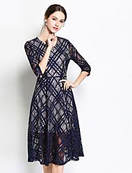 baratos -Mulheres Vintage / Sofisticado balanço / Rodado Vestido - Renda, Sólido / Geométrica Altura dos Joelhos