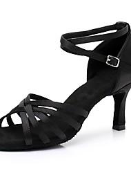 Недорогие -Жен. Обувь для латины Сатин На каблуках Тонкий высокий каблук Персонализируемая Танцевальная обувь Черный