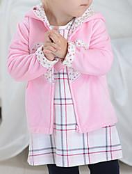 Недорогие -малыш Девочки Классический Контрастных цветов Длинный рукав Обычная Хлопок На пуховой / хлопковой подкладке Розовый