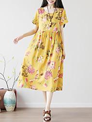 baratos -Mulheres Moda de Rua / Sofisticado Reto Vestido - Pregueado / Estampado, Geométrica Médio