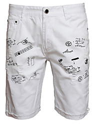 cheap -Men's Active Cotton Jeans / Shorts Pants - Letter Print