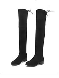 Недорогие -Жен. Обувь Замша Весна Модная обувь Ботинки На толстом каблуке Квадратный носок Бедро высокие сапоги Серый / Темно-серый / Миндальный