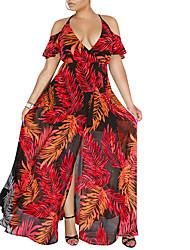 cheap -Women's Boho Chiffon Dress - Floral Tropical Leaf, Lace up / Print