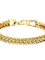 cheap -Men's Classic / Link / Chain Link Bracelet - Titanium Steel, Stainless Creative Stylish, Simple, Classic Bracelet Gold / Black / Silver For Street / Going out