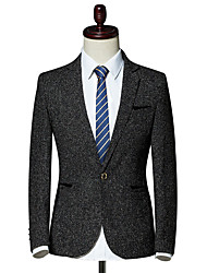 cheap -Men's Blazer-Solid Colored Peaked Lapel / Long Sleeve