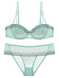 cheap -Women's Demi-cup Bras & Panties Sets Push-up / Underwire Bra - Embroidered