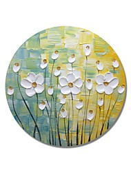 cheap -STYLEDECOR Modern Hand Painted Abstract Circular Frame Striped Texture Small White Flowers on Yellow and Blue