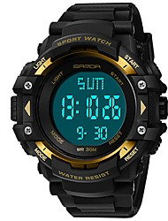 Недорогие -SANDA Муж. Спортивные часы / электронные часы Японский Календарь / Защита от влаги / Хронометр PU Группа Роскошь / Мода Черный