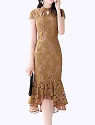 baratos -Mulheres Vintage / Moda de Rua Bainha Vestido - Renda, Sólido Médio