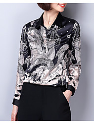 Недорогие -Жен. Пэчворк / С принтом Рубашка Геометрический принт / Контрастных цветов