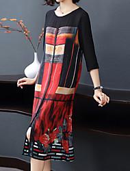 Недорогие -Жен. Уличный стиль / Изысканный А-силуэт Платье - Геометрический принт Средней длины