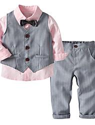 Недорогие -Дети Дети (1-4 лет) Мальчики Активный Классический Для вечеринок Повседневные Однотонный Полоски Длинный рукав Обычный Обычная Хлопок Набор одежды Розовый