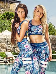 abordables -Femme Sexy 2pcs Costume de yoga - Vert, Bleu, Noir / Blanc Des sports Floral / Botanique, Mode Spandex Soutien-Gorges de Sport / Collants Course / Running, Fitness, Gymnastique Tenues de Sport