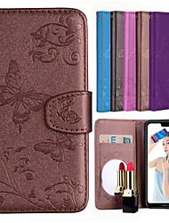 preiswerte -Hülle Für Huawei P20 / P20 lite Geldbeutel / Kreditkartenfächer / mit Halterung Ganzkörper-Gehäuse Schmetterling / Blume Hart PU-Leder für Huawei P20 / Huawei P20 Pro / Huawei P20 lite
