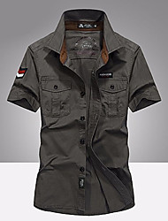 baratos -Homens Camisa Social Básico Geométrica