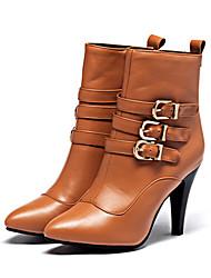 Недорогие -Жен. Обувь Полиуретан Наступила зима Резиновые сапоги / Модная обувь Ботинки На шпильке Заостренный носок Сапоги до середины икры Пряжки Черный / Желтый / Красный / Для вечеринки / ужина