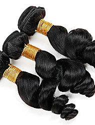 cheap -3 Bundles Brazilian Hair Loose Wave Human Hair Extension / Human Hair Extensions / Weave 8-28 inch Human Hair Weaves Machine Made Easy dressing / Extention / Hot Sale Black Natural Color Human Hair