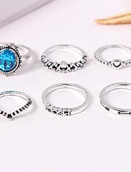 cheap -Women's Retro Ring Set - Acrylic, Alloy Heart, Crown Vintage, European, Fashion 7 Silver For Causal / 6pcs