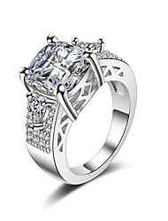 cheap -Women's Cubic Zirconia Stack Band Ring - Romantic, Fashion 6 / 7 / 8 White For Gift / Valentine