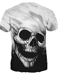 billige -Rund hals Herre / Dame - Dødningehoveder T-shirt / Kortærmet / Lang