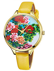 Недорогие -Geneva Жен. Наручные часы Китайский Новый дизайн / Повседневные часы / Cool Кожа Группа На каждый день / Мода Коричневый / Фиолетовый / Желтый / Один год