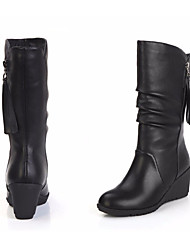 cheap -Women's Shoes PU(Polyurethane) Fall & Winter Fashion Boots / Fur Lining Boots Wedge Heel Round Toe Mid-Calf Boots Black