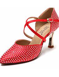 cheap -Women's Modern Shoes Satin Heel Slim High Heel Dance Shoes Brown / Red