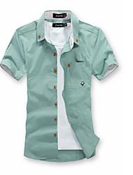 cheap -Men's T-shirt - Solid Colored Shirt Collar / Short Sleeve