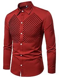 baratos -Homens Camisa Social Básico Vazado / Com Transparência, Sólido