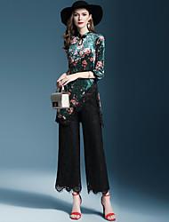 abordables -Mujer Básico Blusa - Un Color / Floral Pantalón