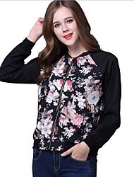 cheap -Women's Jacket - Floral Print Stand