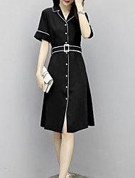 cheap -women's a line dress knee-length square neck