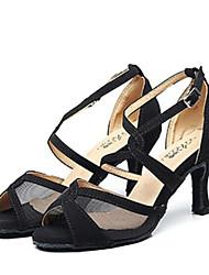 Недорогие -Жен. Обувь для латины Сетка На каблуках Тонкий высокий каблук Танцевальная обувь Черный