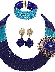 Недорогие -Жен. Многослойность Комплект ювелирных изделий - Австрийские кристаллы MOON Мода Включают Струнные ожерелья Красный / Зеленый / Ярко-розовый Назначение Свадьба