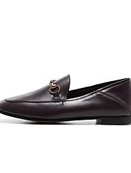 abordables -Femme Chaussures Cuir Nappa Automne Confort Mocassins et Chaussons+D6148 Talon Bas Noir / Marron