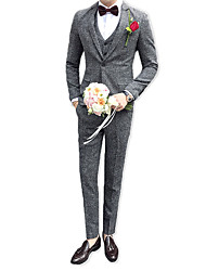 cheap -Men's Party Business Casual Slim Suits-Houndstooth Notch Lapel / Long Sleeve