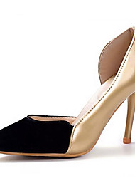 cheap -Women's Shoes PU(Polyurethane) Spring Comfort Heels Stiletto Heel Gold / Yellow / Silver / Party & Evening