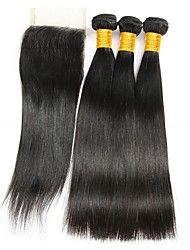 cheap -Brazilian Hair Straight Natural Color Hair Weaves / Tea Party Favors / Costume Accessories 3 Bundles With  Closure 8-20 inch Human Hair Weaves 4x4 Closure Classic / New Arrival / Hot Sale Dark Black