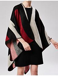 abordables -Mujer Plisado Rectángulo - Básico / Vacaciones Geométrico / Bloques Negro y Rojo