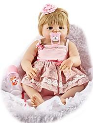 baratos -FeelWind Bonecas Reborn Bebês Meninas 22 polegada Silicone de corpo inteiro - realista, Implantação artificial olhos azuis, Nozes vedadas e seladas de Criança Para Meninas Dom
