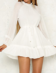 cheap -Women's Basic / Elegant Puff Sleeve Chiffon / Swing Dress - Solid Colored Lace up
