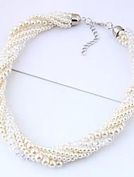 Недорогие -Жен. Плетение Ожерелье из бисера - Искусственный жемчуг европейский, Мода Белый 40 cm Ожерелье 1шт Назначение Вечеринка / ужин, Повседневные