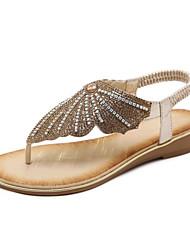 Недорогие -Жен. Обувь Полиуретан Весна Удобная обувь Сандалии На плоской подошве Золотой / Черный