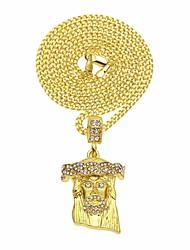 cheap -Men's Cubic Zirconia Vintage Style / Cuban Link Pendant Necklace / Chain Necklace - Head, Faith Stylish, European, Hip-Hop Gold 60 cm Necklace 1pc For Street, Club